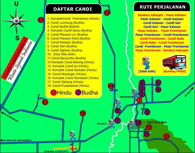 rute perjalanan candi Jalan Jogja-Solo