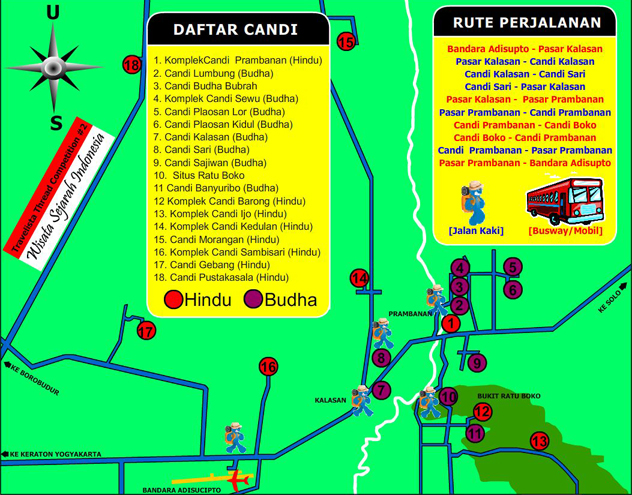 rute perjalanan candi Jalan Jogja-Solo