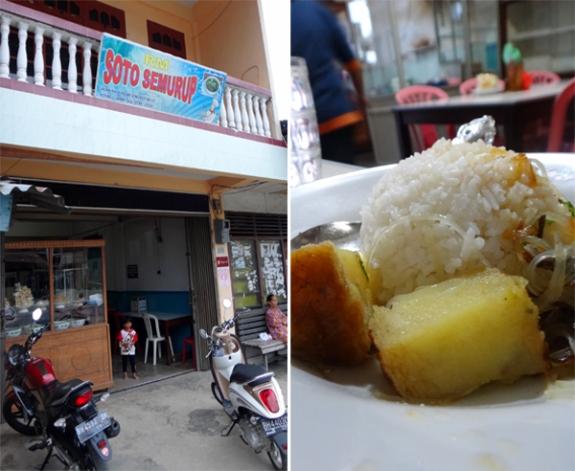 rumah makan Semurup (kiri); soto Semurup bersama nasi