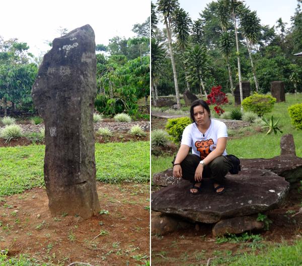 menhir (kiri); dolmen (kanan)
