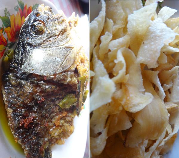 menu lain: ikan goreng sambal hijau dan keripik ubi