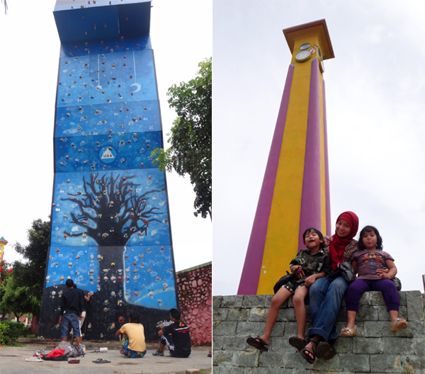 wall climbing arena dan jam gadang disamping lapangan merdeka