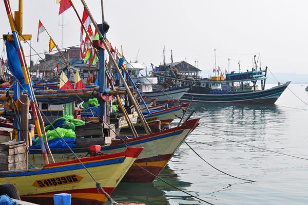 bagai penyambutan - kapal warna-warni dan umbul-umbul