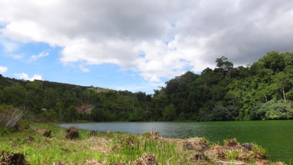 bukit hijau - pemandangan di seberan danau
