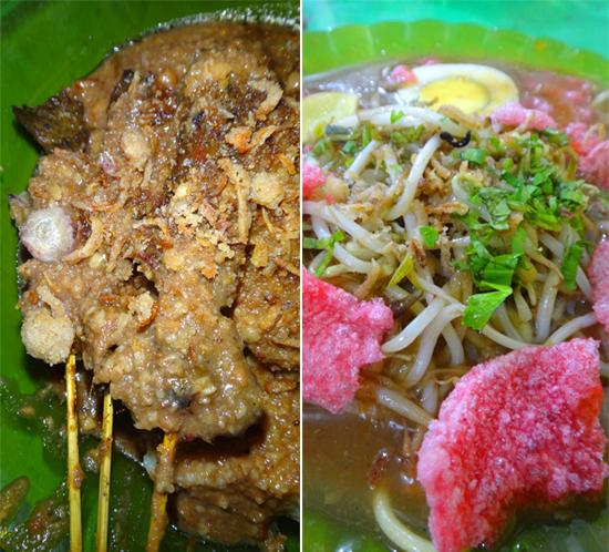 hidangan pembuka di kota Medan - sate dan mie rebus