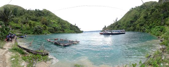 Teluk kecil di desa Binangalom