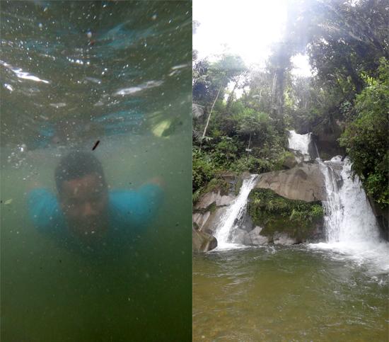 menyelam di air terjun (kiri) - air terjun menyegarkan (kanan)