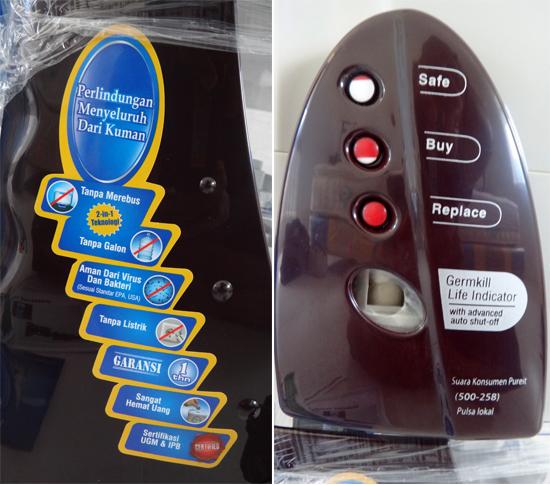 keunggulan pure it (kanan); Germkill Indicator (kanan)