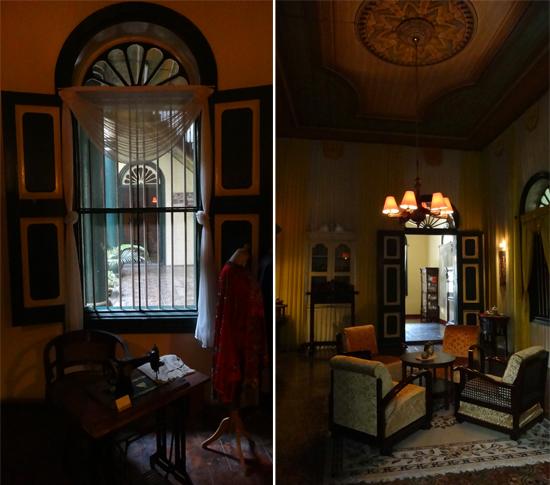 mesin jahit istri Tjong A Fie (kiri) - ruang tamu nuansa Melayu (kanan)