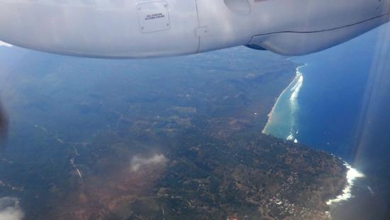 keindahan pulau Flores dari atas pesawat