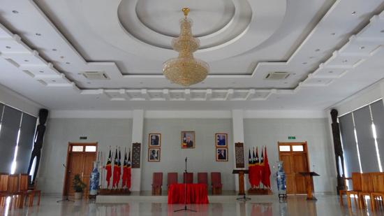 kesederhanaan ruang protokoler Palacio Presidencial Timor Leste