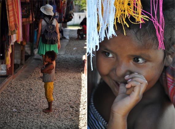 wisatawan (kiri); anak pengerajin (kanan)