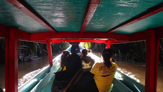 Menyusuri sungai dikelilingi hutan tropis