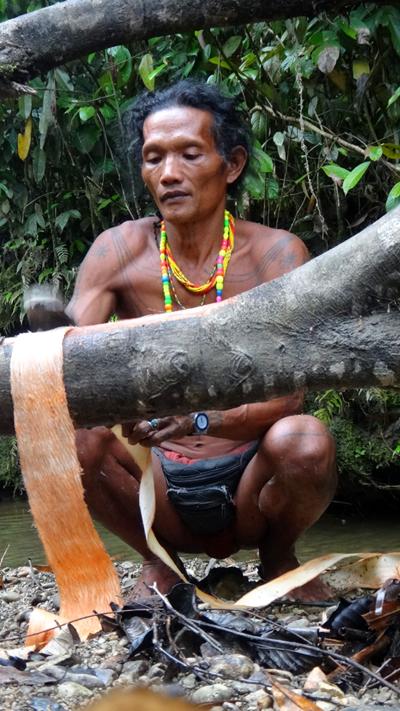 membuat kabit dari kulit kayu
