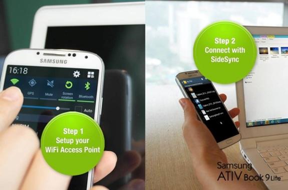fitur #sidesync - bisa mengendalikan perangkat GALAXY lewat ATIVBook9Lite | Samsung.com