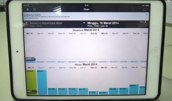 aplikasi skyscanner di ipod memudahkan pemesanan tiket dengan pilihan harga