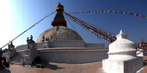 The Buddhist stupa of Boudhanath dominates the skyline