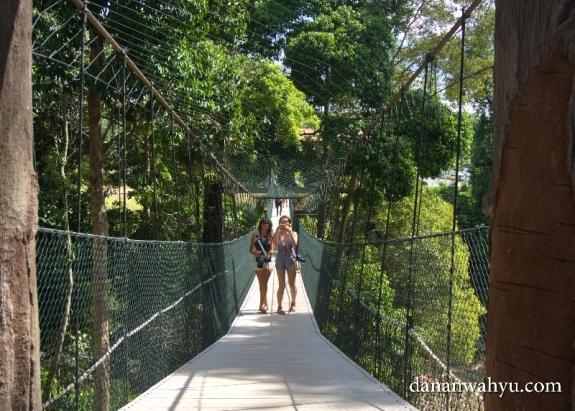 berkeliling kawasan Kenyir Elephant Village di atas jembatan gantung
