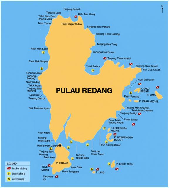peta snorkeling dan scuba diving Pulau Redang