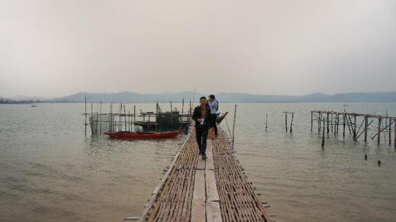 relawan sampai di pulau Panjang