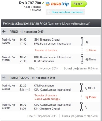 iseng memeriksa harga tiket ke Kathmandu