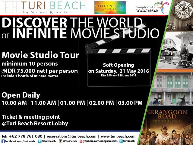 Tulisan di atas merupakan pengalaman berkunjung ke Infinite Studios bersama Turi Beach Resort. Bagi yang berminat dengan Movie Studio Tour dapat mengubungi Turi Beach Resort ( 0778 761 080)