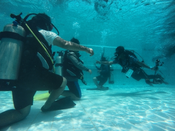 Saatnya wefie bersama di dalam air