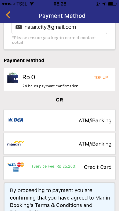 metode pembayaran fleksibel memesan tiket feri di MarlinBooking