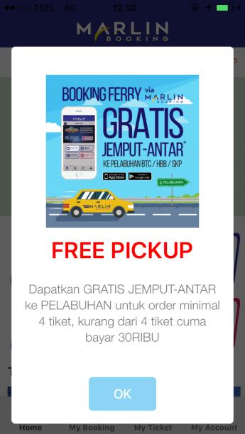 marlin booking antar gratis