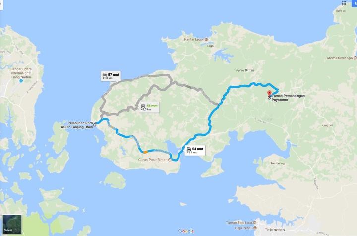 Rute kendaraan bermotor dari pelabuhan Tanjung Uban ke Poyotomo