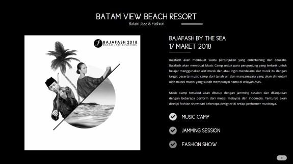 Tanggal 17 Maret 2018 akan digelar music camp, jamming session dan fashion di Batam View Beach Resort.
