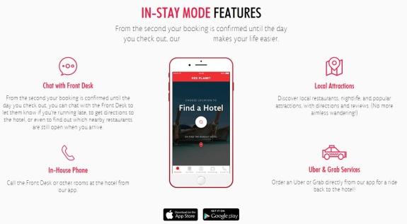 Khusus di luar negeri , aplikasi Red Planet bisa digunakan untuk memesan Uber dan Grab .