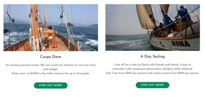 Mau berlayar seharian atau melewati makan malam di saat matahari terbenam berikut harganya. (www.ronasailing.com)