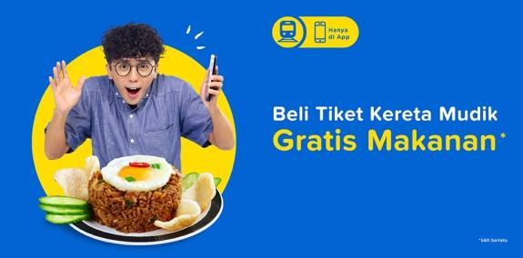 Mau makan gratis di kereta api, pesan tiketnya di aplikasi tiket.com yuk!