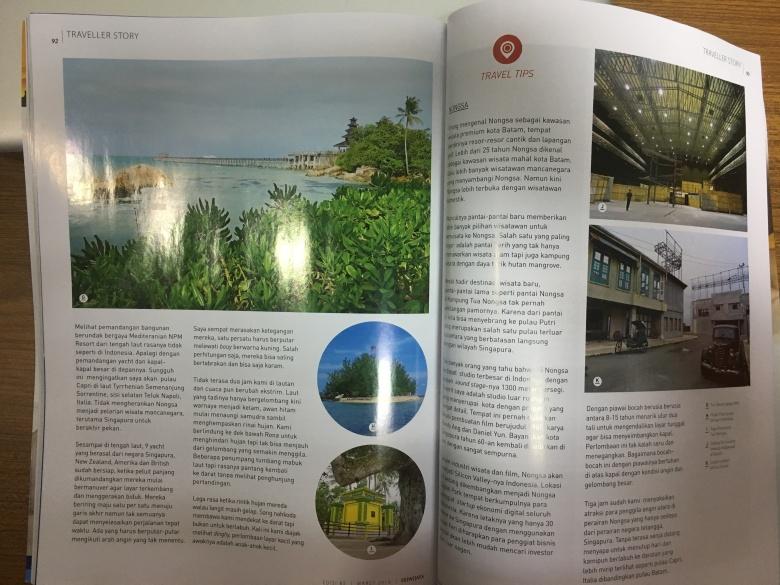 Tulisan juga memuat informasi wisata Nongsa dan Infinite Studio Batam