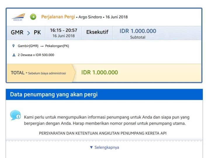 Tiket Jakarta - Pekalongan sudah dibeli tapi tiket pulangnya belum.