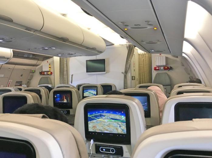 ruang kabin pesawat Saudi Airlines