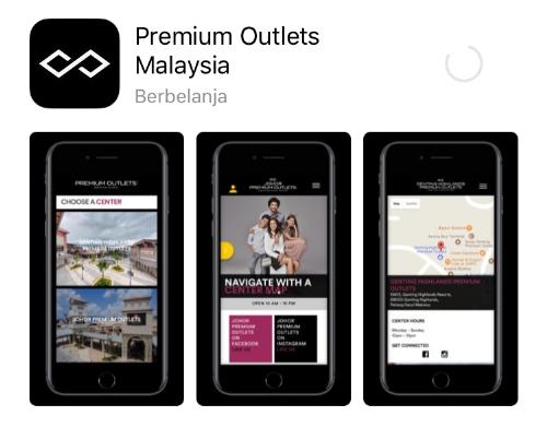 Dapatkan informasi penawaran khusus di aplikasi Premium Outlets