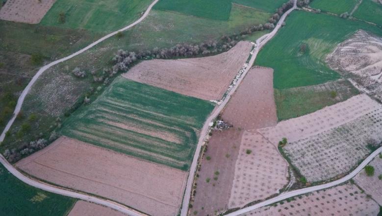 Lahan pertanian yang mulai digarap kembali ketika musim semi tiba.