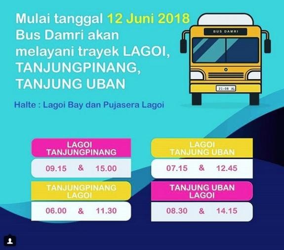 Perhatikan jadwal trayek bis damri Lagoi, Tanjung Pinang dan Tanjung Uban. Baru membuat itinerary perjalanan!