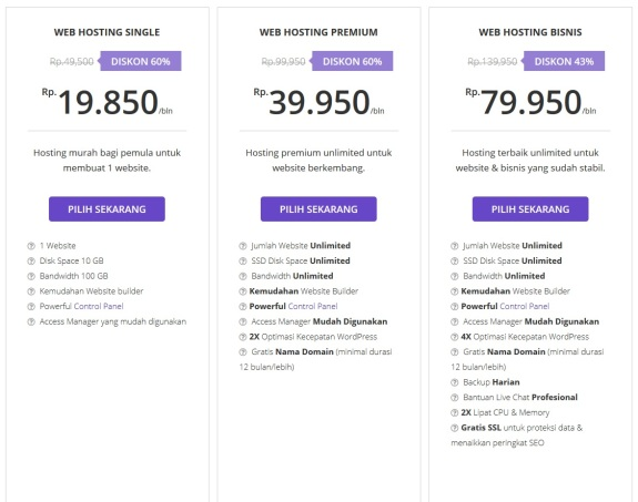 Beragam pilihan web hosting di Hostinger