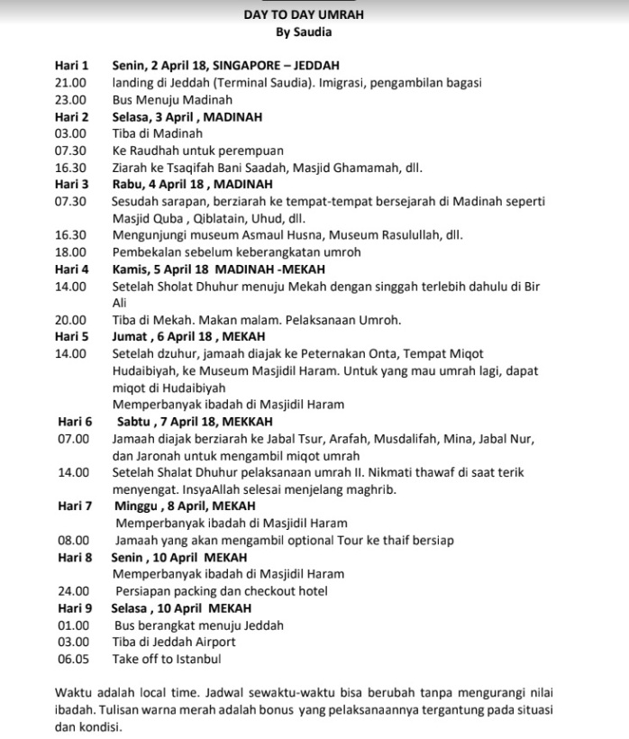 Itinerary umroh plus Turki bulan April