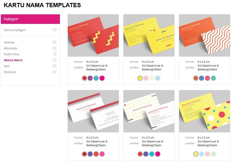 Tersedia beragam pilihan desain kartu nama